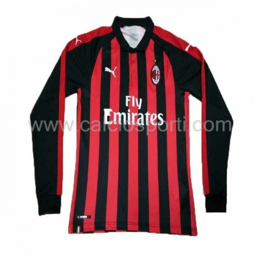 AC Milan 2018-19 Long Sleeve Home Soccer Jersey