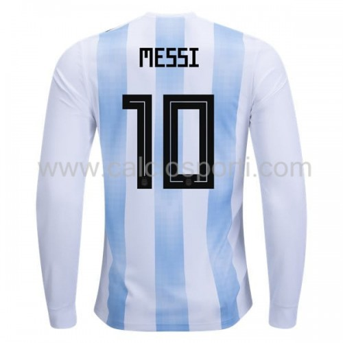 Argentina 2018 Lionel Messi 10 Long Sleeve Home Soccer Jersey