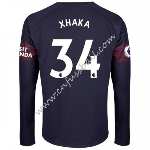 Arsenal 2018-19 Granit Xhaka 34 Long Sleeve Away Soccer Jersey