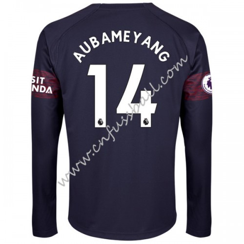 Arsenal 2018-19 Pierre Aubameyang 14 Long Sleeve Away Soccer Jersey