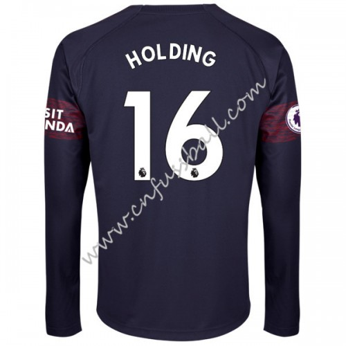 Arsenal 2018-19 Rob Holding 16 Long Sleeve Away Soccer Jersey