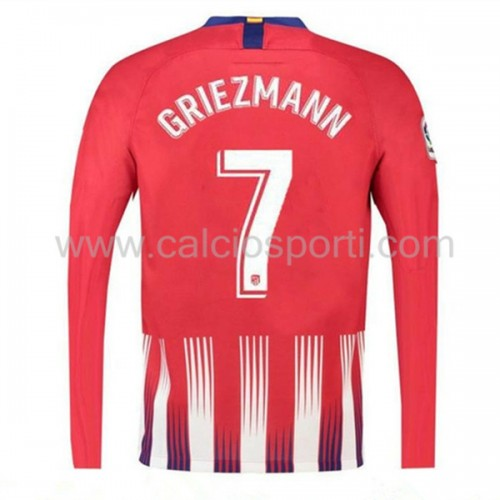Atletico Madrid 2018-19 Griezmann 7 Long Sleeve Home Soccer Jersey
