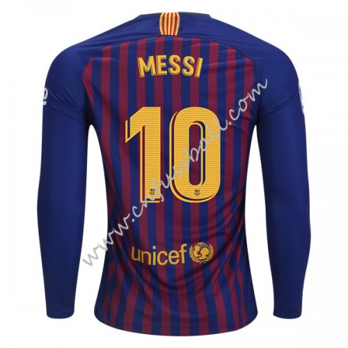 Barcelona 2018-19 Lionel Messi 10 Long Sleeve Home Soccer Jersey