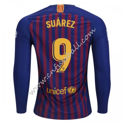 Barcelona 2018-19 Luis Suarez 9 Long Sleeve Home Soccer Jersey