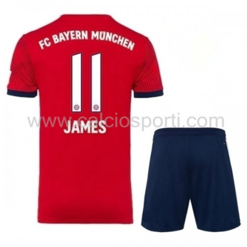 Bayern Munich Kids 2018-19 James Rodriguez 11 Short Sleeve Home Soccer Jersey