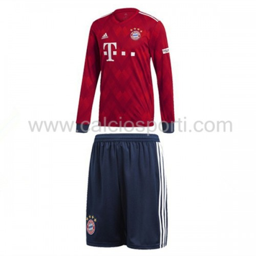 Bayern Munich Kids 2018-19 Long Sleeve Home Soccer Jersey