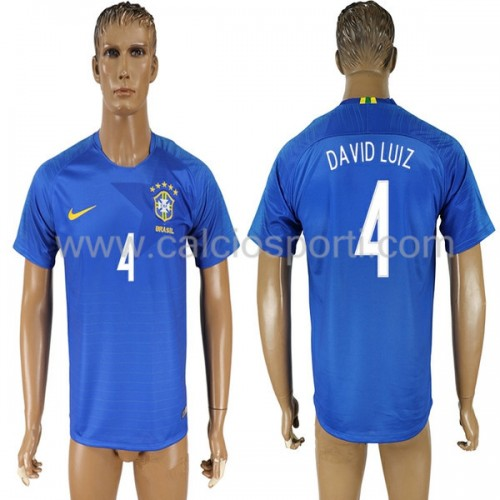 Brazil 2018 David Luiz 4 Short Sleeve Away Soccer Jersey