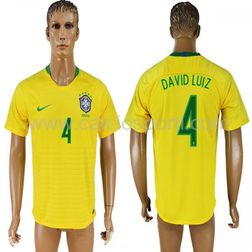 Brazil 2018 David Luiz 4 Short Sleeve Home Soccer Jersey