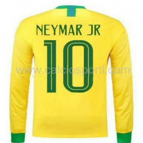 Brazil 2018 Neymar JR 10 Long Sleeve Home Soccer Jersey