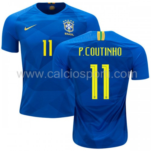 Brazil 2018 Philippe Coutinho 11 Short Sleeve Away Soccer Jersey