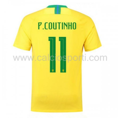 Brazil 2018 Philippe Coutinho 11 Short Sleeve Home Soccer Jersey