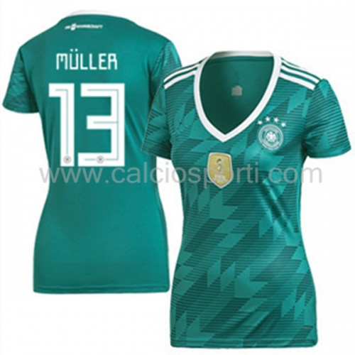 Germany Womens 2018 World Cup Thomas Muller 13 Short Sleeve Away Soccer Jersey