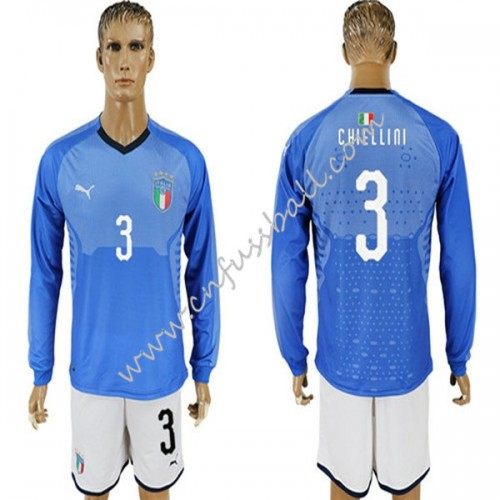 Italy 2018 Chiellini 3 Long Sleeve Home Soccer Jersey