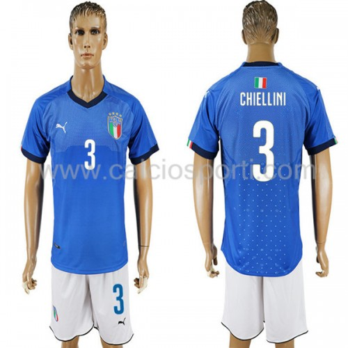 Italy 2018 Chiellini 3 Short Sleeve Home Soccer Jersey