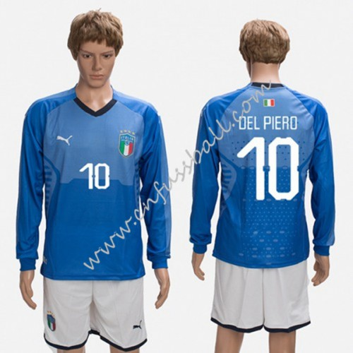 Italy 2018 Del Piero 10 Long Sleeve Home Soccer Jersey