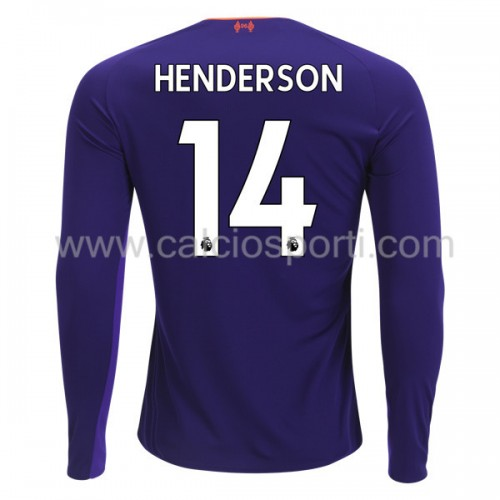Liverpool 2018-19 Jordan Henderson 14 Long Sleeve Away Soccer Jersey