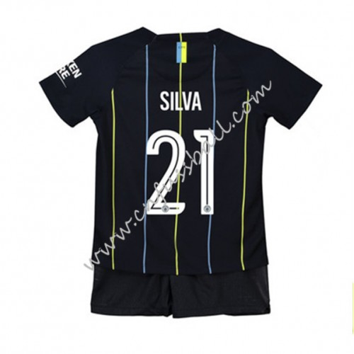 Manchester City Kids 2018-19 David Silva 21 Short Sleeve Away Soccer Jersey