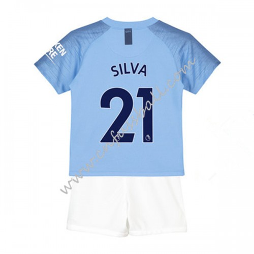 Manchester City Kids 2018-19 David Silva 21 Short Sleeve Home Soccer Jersey