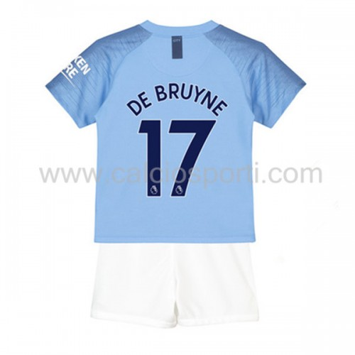 Manchester City Kids 2018-19 De Bruyne 17 Short Sleeve Home Soccer Jersey