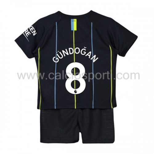 Manchester City Kids 2018-19 Ilkay Gundogan 8 Short Sleeve Away Soccer Jersey