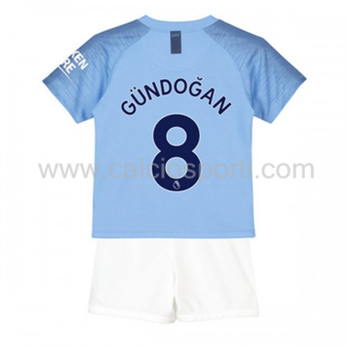 Manchester City Kids 2018-19 Ilkay Gundogan 8 Short Sleeve Home Soccer Jersey
