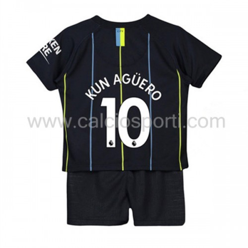 Manchester City Kids 2018-19 Kun Aguero 10 Short Sleeve Away Soccer Jersey
