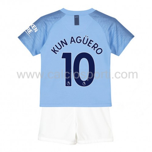 Manchester City Kids 2018-19 Kun Aguero 10 Short Sleeve Home Soccer Jersey