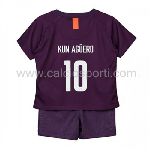 Manchester City Kids 2018-19 Kun Aguero 10 Short Sleeve Third Soccer Jersey