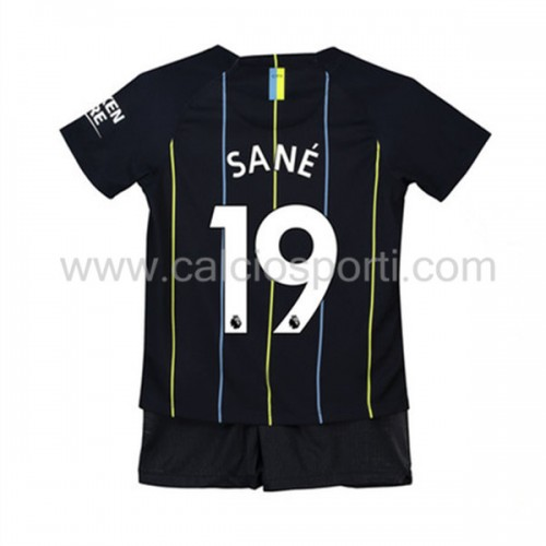 Manchester City Kids 2018-19 Leroy Sané 19 Short Sleeve Away Soccer Jersey