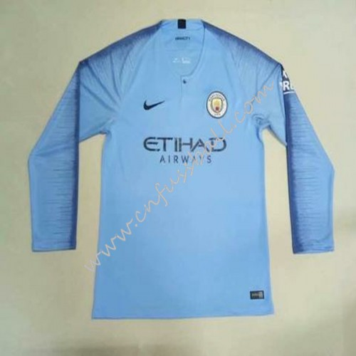 Manchester City Kids 2018-19 Long Sleeve Home Soccer Jersey