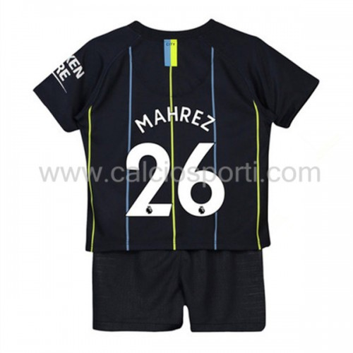 Manchester City Kids 2018-19 Mahrez 26 Short Sleeve Away Soccer Jersey