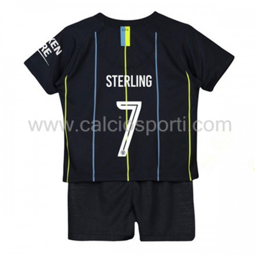 Manchester City Kids 2018-19 Raheem Sterling 7 Short Sleeve Away Soccer Jersey