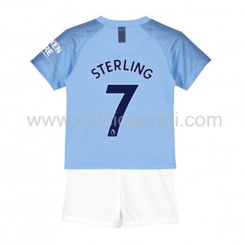 Manchester City Kids 2018-19 Raheem Sterling 7 Short Sleeve Home Soccer Jersey