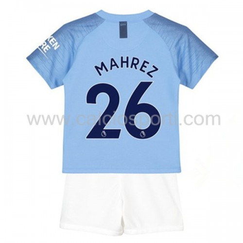 Manchester City Kids 2018-19 Mahrez 26 Short Sleeve Home Soccer Jersey