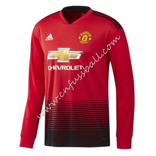 Manchester United 2018-19 Long Sleeve Home Soccer Jersey