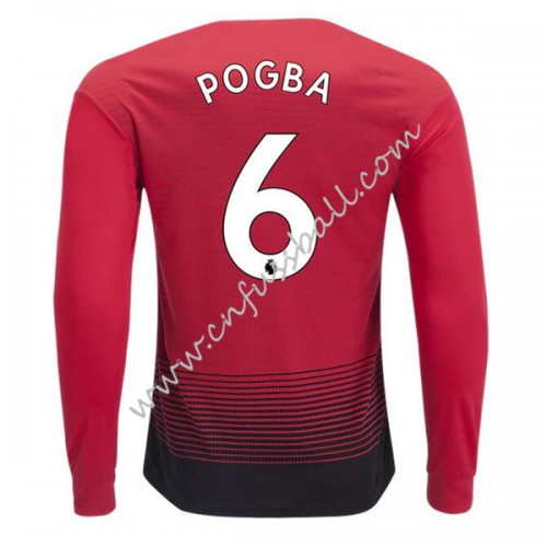 Manchester United 2018-19 Paul Pogba 6 Long Sleeve Home Soccer Jersey