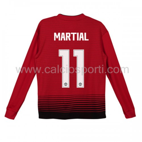 Manchester United Kids 2018-19 Anthony Martial 11 Long Sleeve Home Soccer Jersey