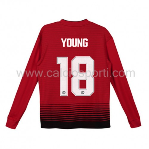 Manchester United Kids 2018-19 Ashley Young 18 Long Sleeve Home Soccer Jersey