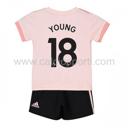 Manchester United Kids 2018-19 Ashley Young 18 Short Sleeve Away Soccer Jersey