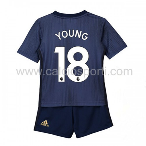 Manchester United Kids 2018-19 Ashley Young 18 Short Sleeve Third Soccer Jersey