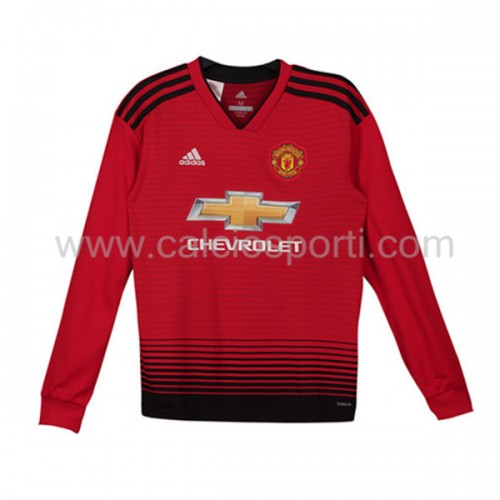 Manchester United Kids 2018-19 Long Sleeve Home Soccer Jersey