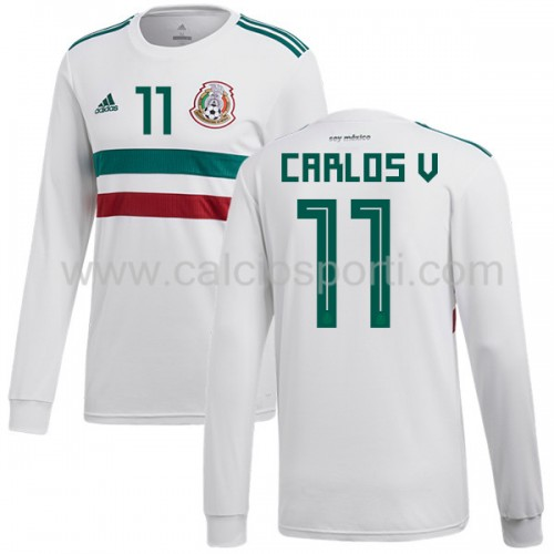 Mexico 2018 Carlos Vela 11 Long Sleeve Away Soccer Jersey