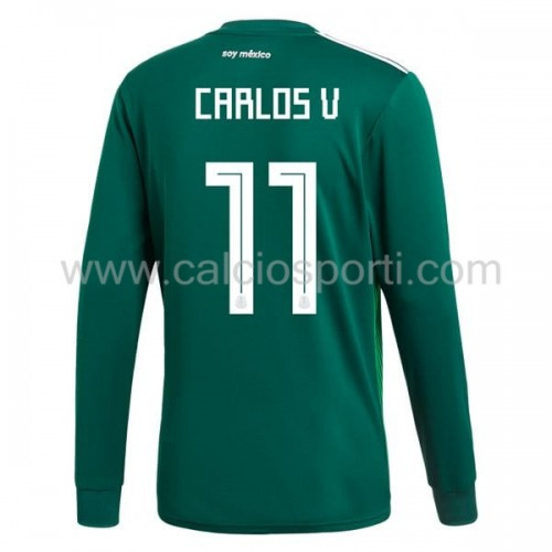 Mexico 2018 Carlos Vela 11 Long Sleeve Home Soccer Jersey