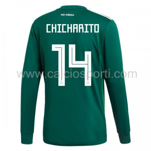 Mexico 2018 Chicharito 14 Long Sleeve Home Soccer Jersey