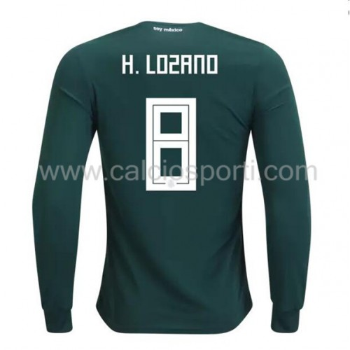 Mexico 2018 Hirving Lozano 8 Long Sleeve Home Soccer Jersey