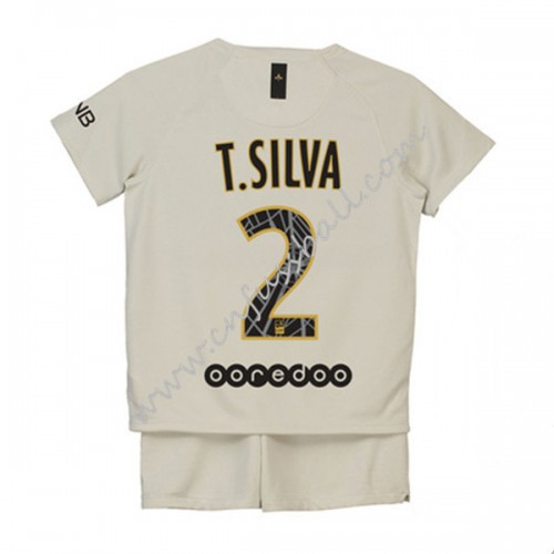 Paris Saint Germain PSG Kids 2018-19 T. Silva 2 Short Sleeve Away Soccer Jersey