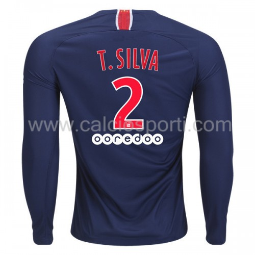 Paris Saint Germain Psg 2018-19 Thiago Silva 2 Long Sleeve Home Soccer Jersey