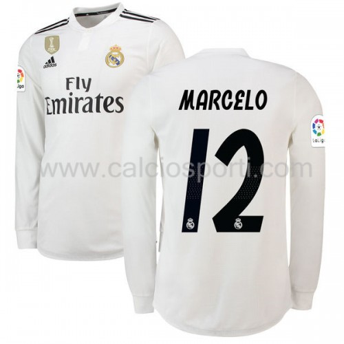 Real Madrid 2018-19 Marcelo Junior 12 Long Sleeve Home Soccer Jersey