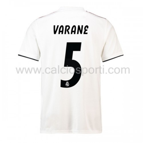Real Madrid 2018-19 Raphael Varane 5 Short Sleeve Home Soccer Jersey