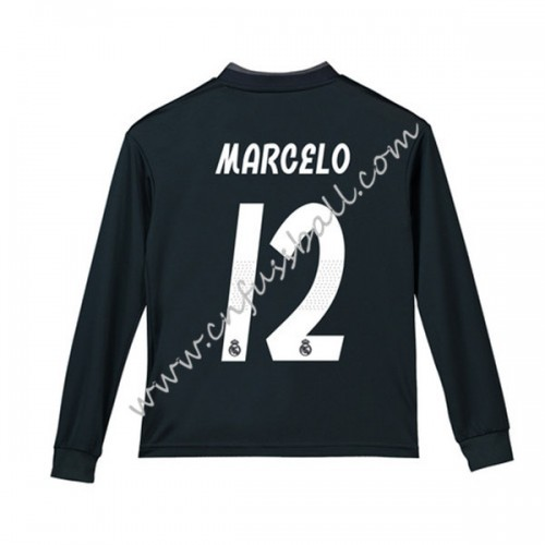 Real Madrid Kids 2018-19 Marcelo Junior 12 Long Sleeve Away Soccer Jersey